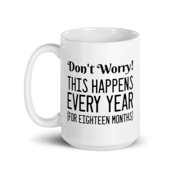 Don't worry this happens every year (for eighteen months) 15oz ceramic mug